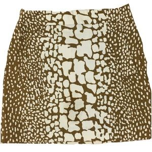 J. Crew Snake Print Brown White Cotton Mini Skirt